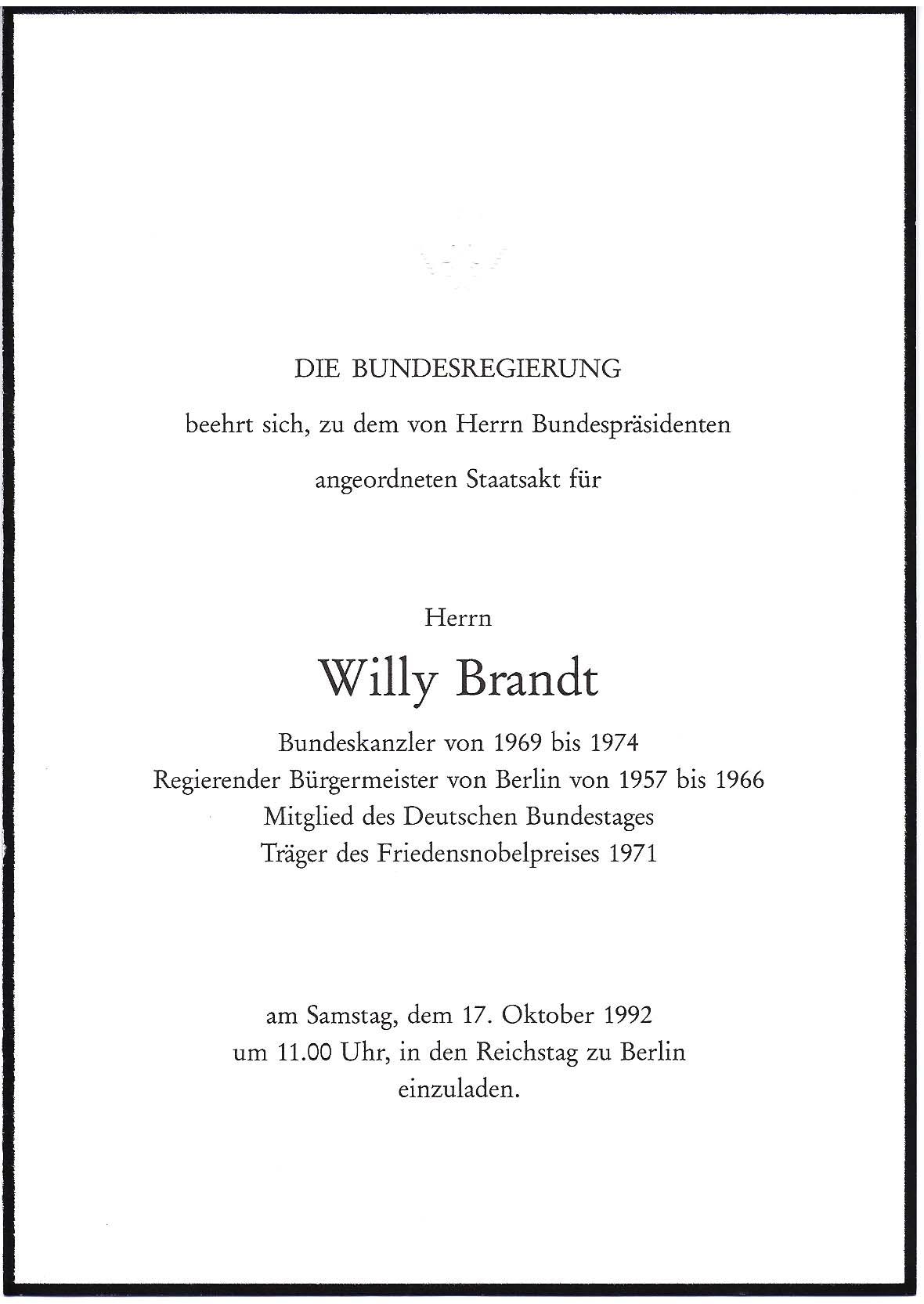einemann - willy brandt staatsakt, Einladung